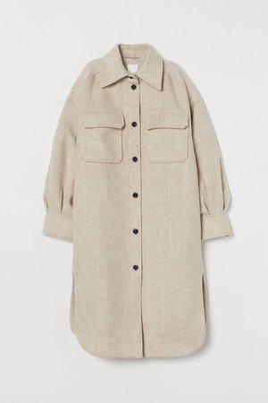 Long Shirt Jacket - Light beige melange - Ladies | H&M US