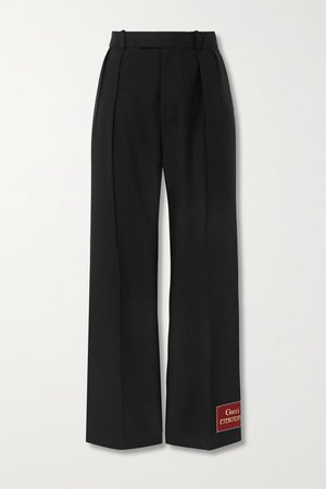 Black Appliquéd wool and mohair-blend straight-leg pants | Gucci | NET-A-PORTER