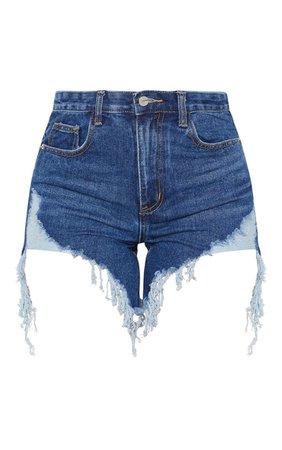 Dark Wash Distressed Denim Shorts | Denim | PrettyLittleThing USA