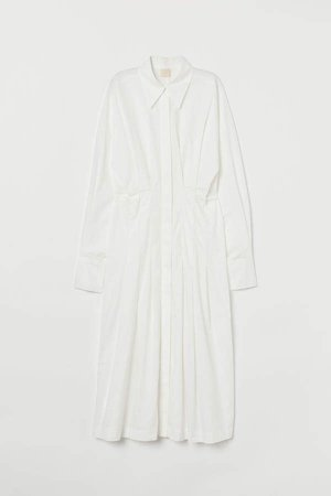 Cotton Poplin Shirt Dress - White