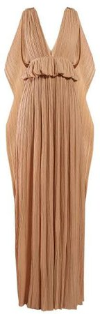 Cape Panel Plisse Chiffon Gown - Womens - Light Brown