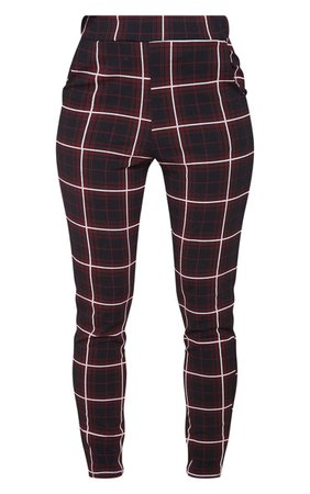 Red Check Skinny Trouser | Trousers | PrettyLittleThing