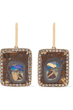 Kimberly McDonald | + NET SUSTAIN 18-karat rose gold, opal and diamond earrings | NET-A-PORTER.COM