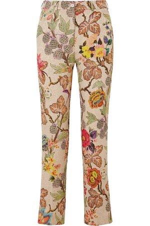 Etro | Cropped floral brocade straight-leg pants | NET-A-PORTER.COM