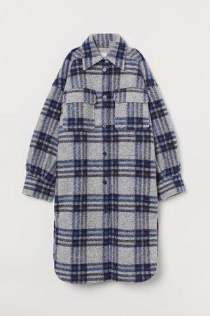 Long Shacket - Light gray/blue plaid - Ladies   H&M US