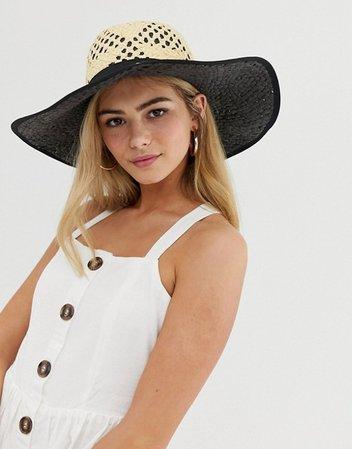 Miss Selfridge sun hat with contrast underlay in nude | ASOS
