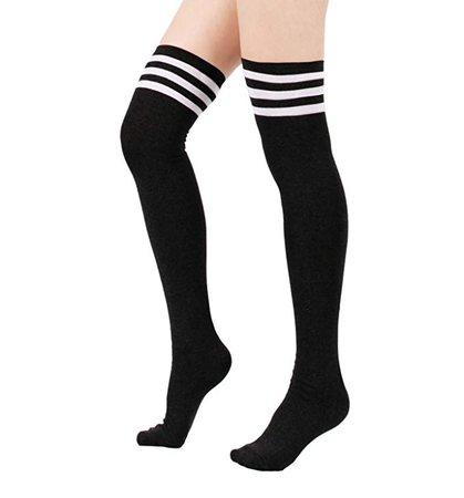 Amazon.com: Zando Women Stripe Tube Dresses Over the Knee Thigh High Stockings Cosplay Socks Black: Clothing