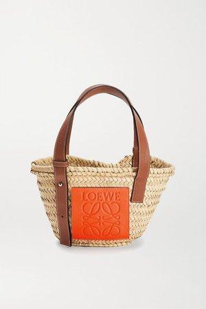 Paula's Ibiza Small Leather-trimmed Raffia Tote - Beige