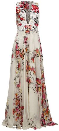 floral print flared gown