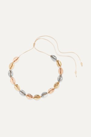 Gold Large Puka yellow and rose gold and silver-plated necklace | Tohum | NET-A-PORTER