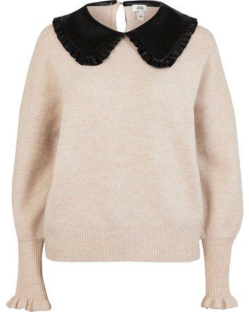 Beige oversized collar knitted jumper | River Island