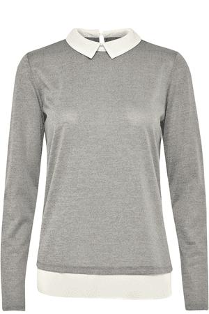 Layered Shirt - Fransa - Clothing (Grey Peter Pan Collar Jumper/Sweater/Jersey)