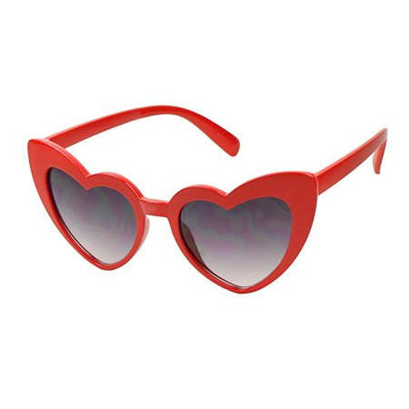 Amazon.com: ShadyVEU - Trendy Kids Heart Shaped Love Colorful Girls Toddlers Ages 2-6 Yrs. Oversize Sunglasses (Red, Black Lens): Clothing