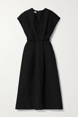 Pleated Twill Midi Dress - Black