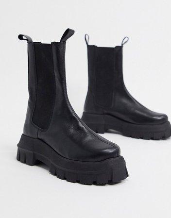 ASOS DESIGN Aqum premium leather chunky chelsea boots in black | ASOS