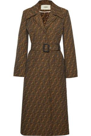 Fendi | Belted jacquard coat | NET-A-PORTER.COM