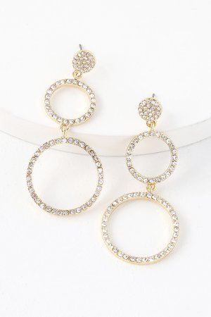 Lovely Gold Earrings - Rhinestone Earrings - Circle Earrings