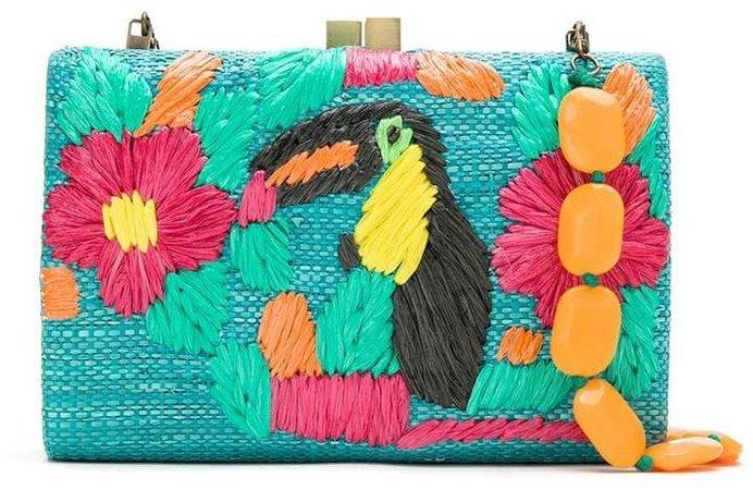 Serpui embroidered straw clutch