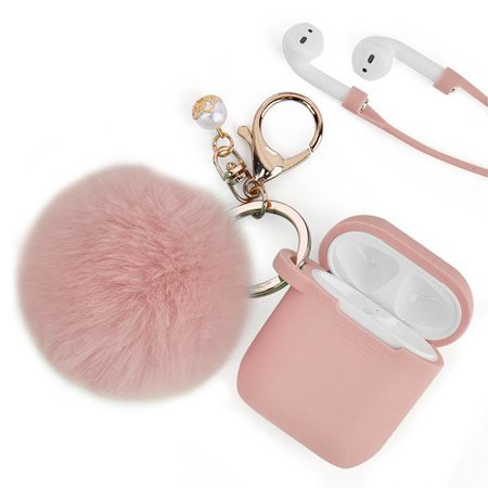For Airpods Case, LUXMO Airpod Case Cover for Apple Airpods 2&1 Charging Case, Cute Air Pods Silicone Protective Case with Airpod Accessories Keychain/Skin/Pompom/Strap - Walmart.com - Walmart.com