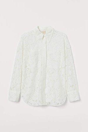 Oversized Lace Shirt - White