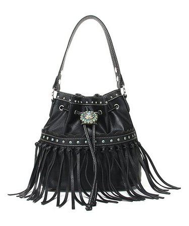 Cowgirl Trendy Black Fringe-Accent Western Concho Bucket Bag | Zulily