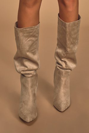 Cute Taupe Suede Boots - Vegan Leather Boots - Knee High Boots