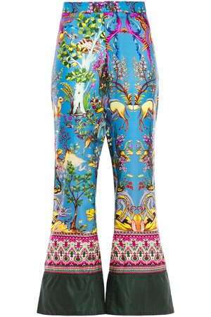 Blue Printed twill flared pants | Sale up to 70% off | THE OUTNET | F.R.S. FOR RESTLESS SLEEPERS | THE OUTNET