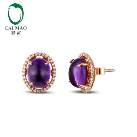 Amythest Diamond Earrings