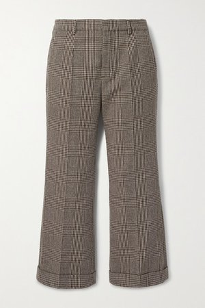 Cropped Prince Of Wales Checked Wool-blend Straight-leg Pants - Brown