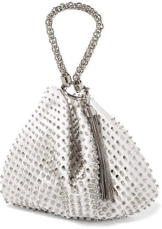 Callie Crystal-embellished Satin Clutch - White