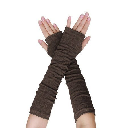 Long Gloves Arm Warmers Brown