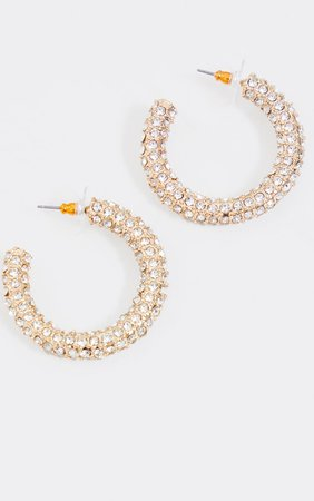 Gold Chunky Diamante Hoops | Accessories | PrettyLittleThing USA