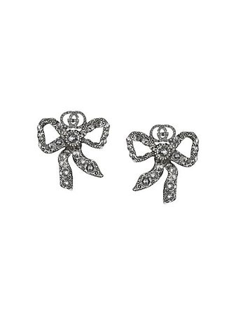 Shop metallic Gucci crystal bow earrings with Express Delivery - Farfetch