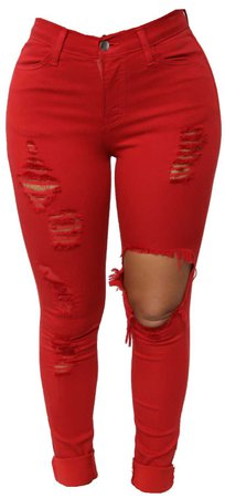 RED ripped jeans