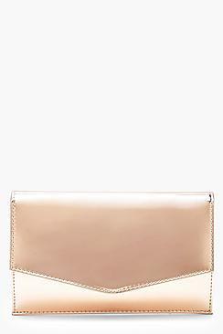 Shiny Metallic Envelope Clutch & Chain