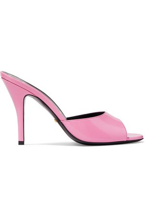 Gucci | Scarlet glossed-leather mules | NET-A-PORTER.COM