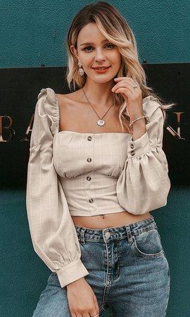 Peasant Chic Beige White Plaid Pattern Long Lantern Sleeve Puff Should – Indie XO