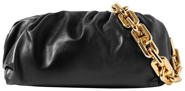 Bottega Veneta The Chain Pouch Gathered Black Leather Clutch - Tradesy