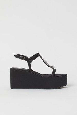 Platform Wedge-heel Sandals - Black