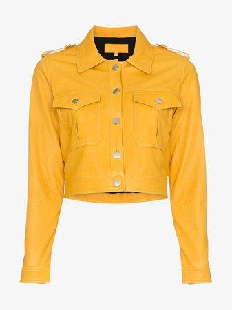 Skiim Yellow Cropped Leather Jacket