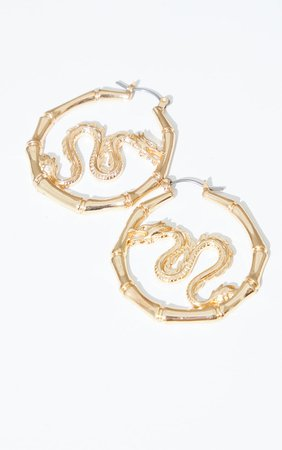 Gold Mini Dragon Hoop Earrings   Accessories   PrettyLittleThing USA