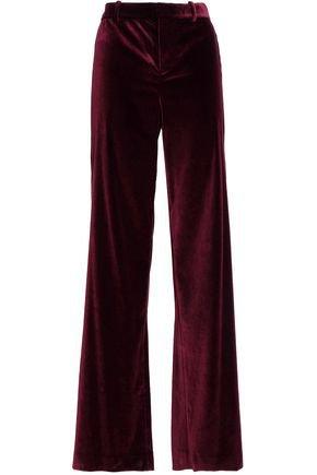 Paulette satin-trimmed velvet wide-leg pants | ALICE + OLIVIA | Sale up to 70% off | THE OUTNET