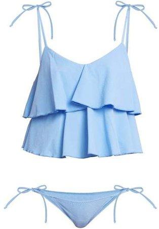Imaan Ruffle Bikini - Womens - Blue