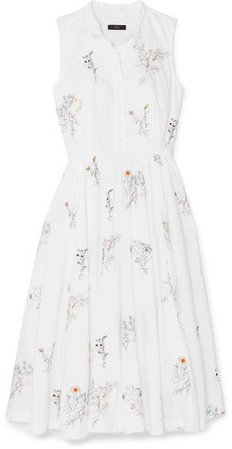 Maison Embellished Embroidered Cotton-poplin Midi Dress - White