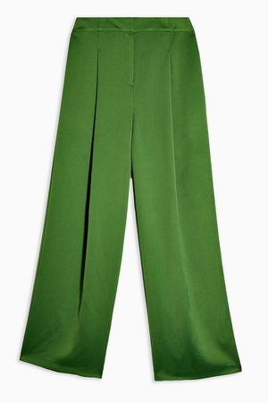 Green Satin Suit Pants | Topshop