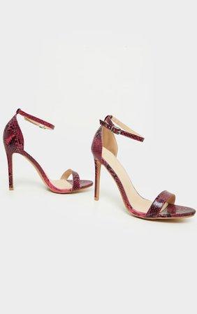 Clover Pink Snake Strap Heeled Sandals | PrettyLittleThing