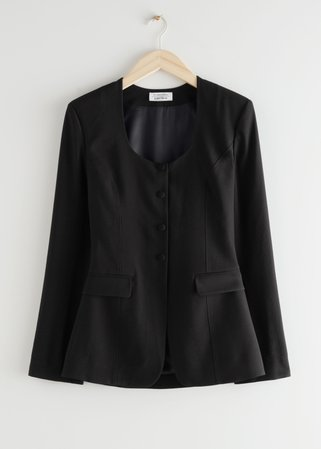 Tailored Hourglass Blouse - Black - Blouses - & Other Stories