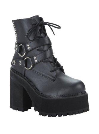 (Black Leather) Demonia By Pleaser Assault 101 Platform Ankle Boots