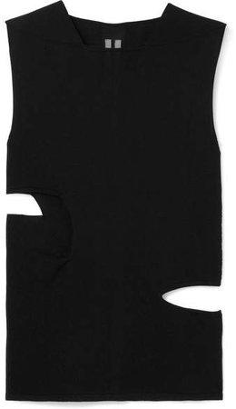 Mesh-trimmed Cutout Silk-jersey Tank - Black