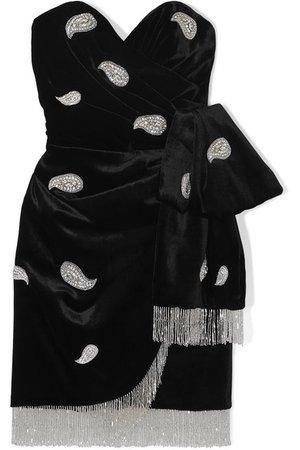 Dundas | Strapless crystal-embellished fringed velvet mini dress | NET-A-PORTER.COM